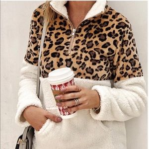 NWT Soft Fuzzy Animal Print Ivory Zip Up Pullover